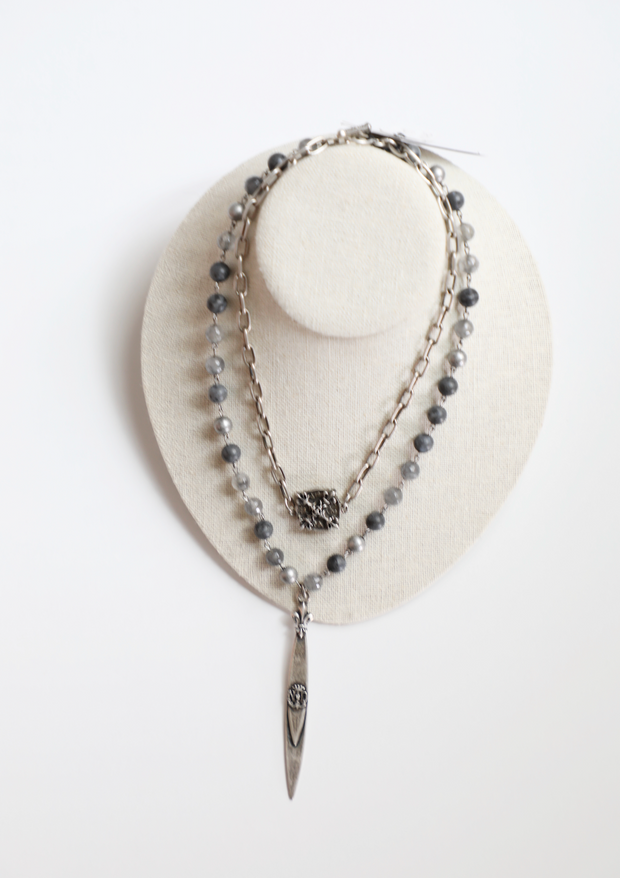 French Kande - Double Strand Slate Mix w/ Silver Wire, Chain, x Medallion & Pointu Pendant