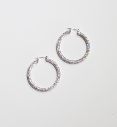 LUV AJ - Pave Amalfi Hoops in Silver Rainbow Crystal