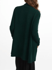 White + Warren - Cuffed Sleeve Cardigan Dark Cedar Heather