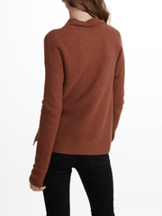 White + Warren - Horizontal Rib Standneck Nutmeg Heather