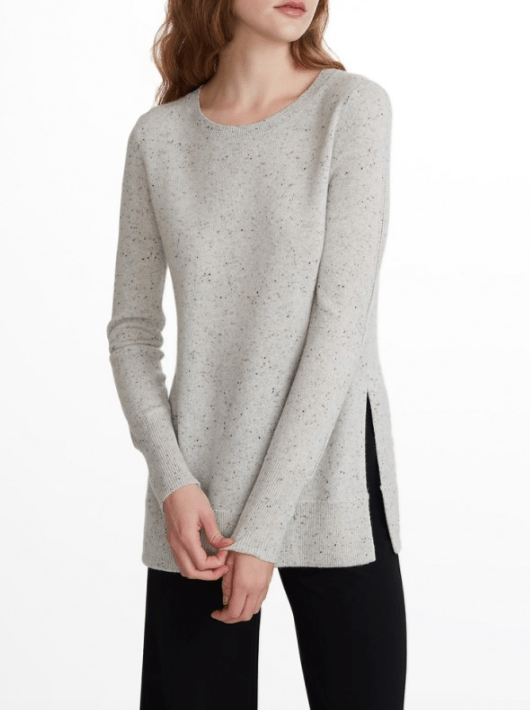 White + Warren - Pointelle Sleeve Crewneck Polar Grey Nep