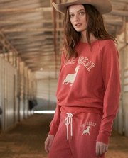 The Great - The College Sweatshirt with Ram Graphic in Cardinal