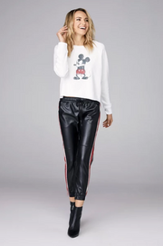 David Lerner - Angry Mickey Raw Edge Pullover in Soft White