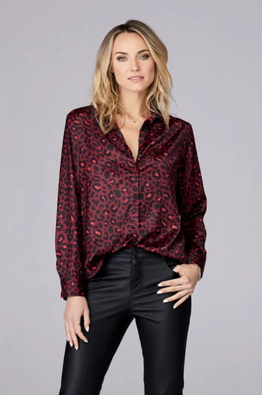 David Lerner - Portman Button Down Shirt in Red Leopard