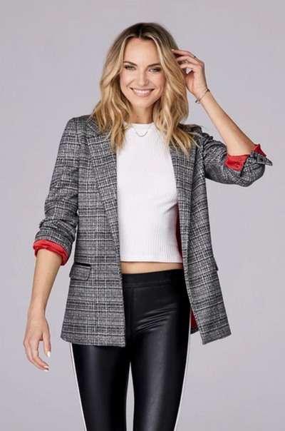 David Lerner - Oversized Blazer Plaid in Black/White Plaid