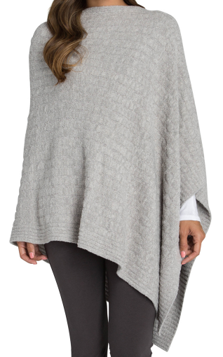 BAREFOOT DREAMS - Cozychic Lite Cable Poncho in Pewter/Silver