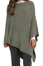 BAREFOOT DREAMS - Cozychic Lite Cable Poncho in Olive/Loden