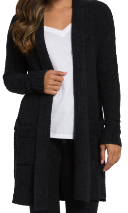 BAREFOOT DREAMS - Cozychic Lite Long Weekend Cardi in Black