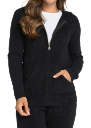 BAREFOOT DREAMS - CozyChic Lite Women's Zip-Up Hoodie in Black