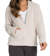 BAREFOOT DREAMS - Cozychic Women's Relaxed Zip-Up Hoodie in Stone