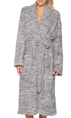 BAREFOOT DREAMS - Cozychic Heathered Adult Robe in Graphite/White