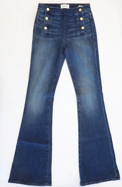 Frame Denim - Le High Flare Jeans with Side Button in Lupin