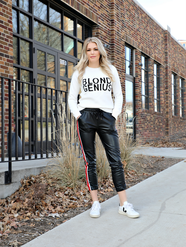 "Blond Genius - Signature Sweater ""Blond Genius"" in White"