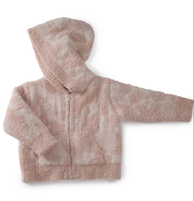 Barefoot Dreams - Cozychic Baby Camo Zip Up Hoodie in Dusty Rose Multi