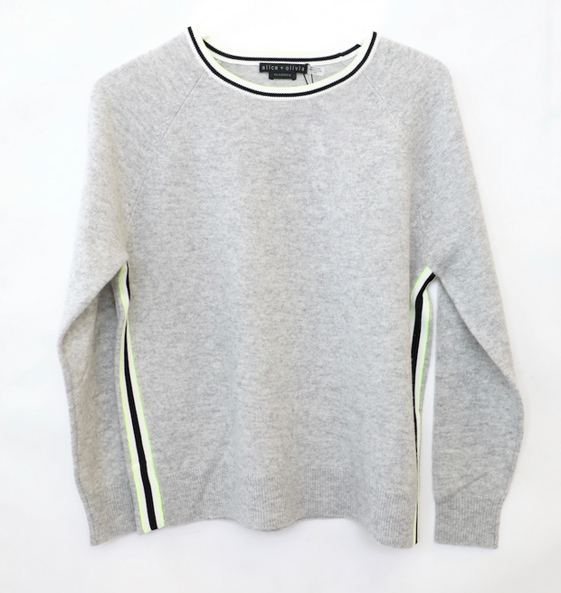 Alice + Olivia - Moira Side Striped Pullover Grey/White/Black/Lime