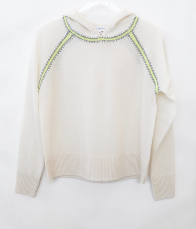 White + Warren - Crochet Raglan Hoodie in Pearl White Combo