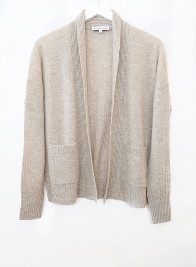 White + Warren - Patch Pocket Open Cardigan in Sand Wisp Heather