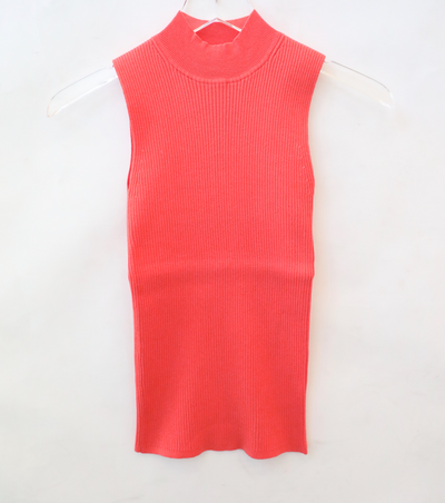 White + Warren - Essential Ribbed Mockneck Tank in Watermelon Pink