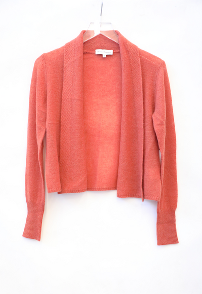 White + Warren - Cropped Swing Cardigan in Terracotta Heather