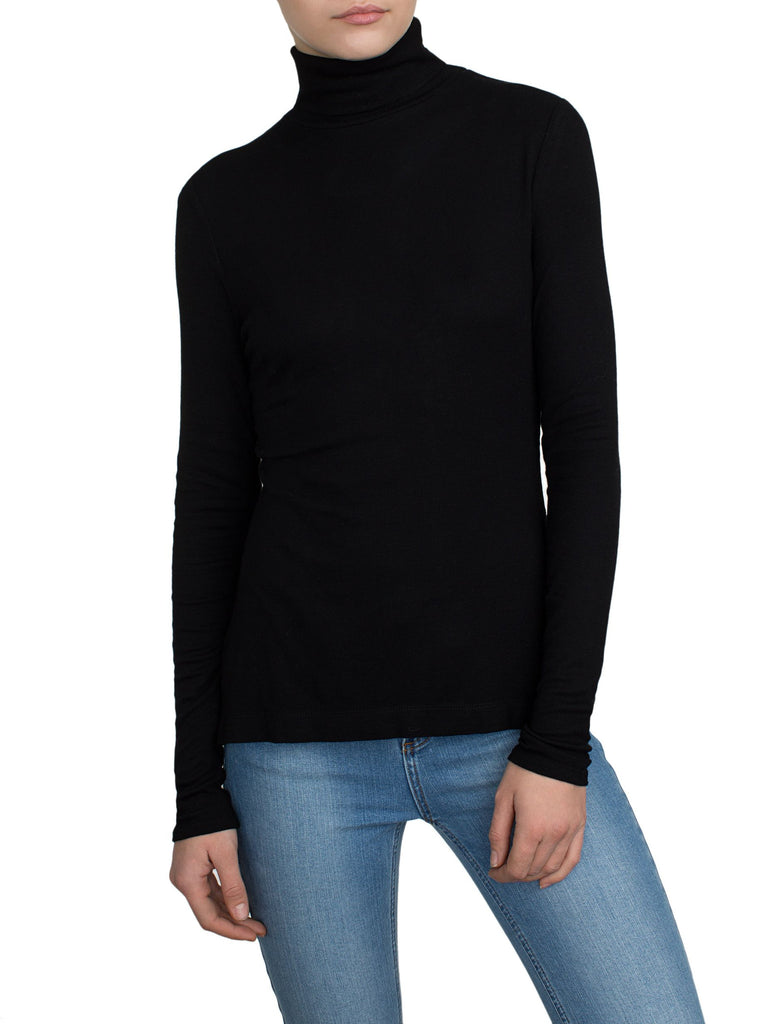White + Warren Scrunchneck Sweater Black at Blond Genius - 1