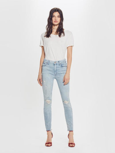 Mother Denim - Looker Ankle Fray Denim Jeans in Super Blast From The Past Wash