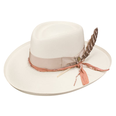 Blond Genius x Stetson - Kings Row Hat (Peach Band) in Natural
