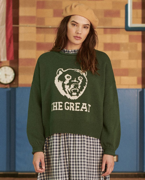 The Great - The Bear Pullover in Deep Bottle Green