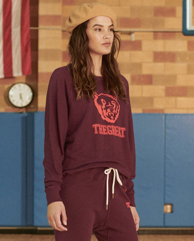 The Great - The College Sweatshirt with Bear Graphic in Mulberry