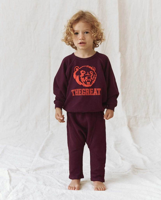 The Great - The Little College Sweatshirt w/ Bear Graphic in Mulberry