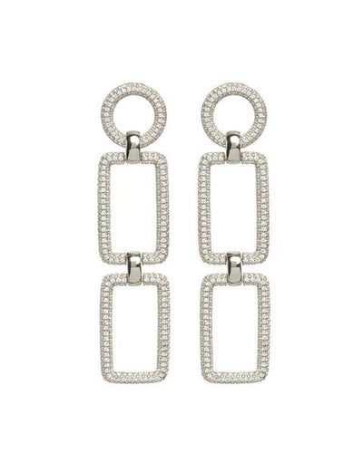LUV AJ - The Pave Chain Link Earrings in Silver