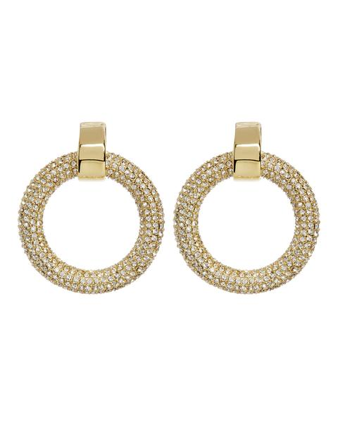 LUV AJ - The Pave Door Knocker Hoops in Gold