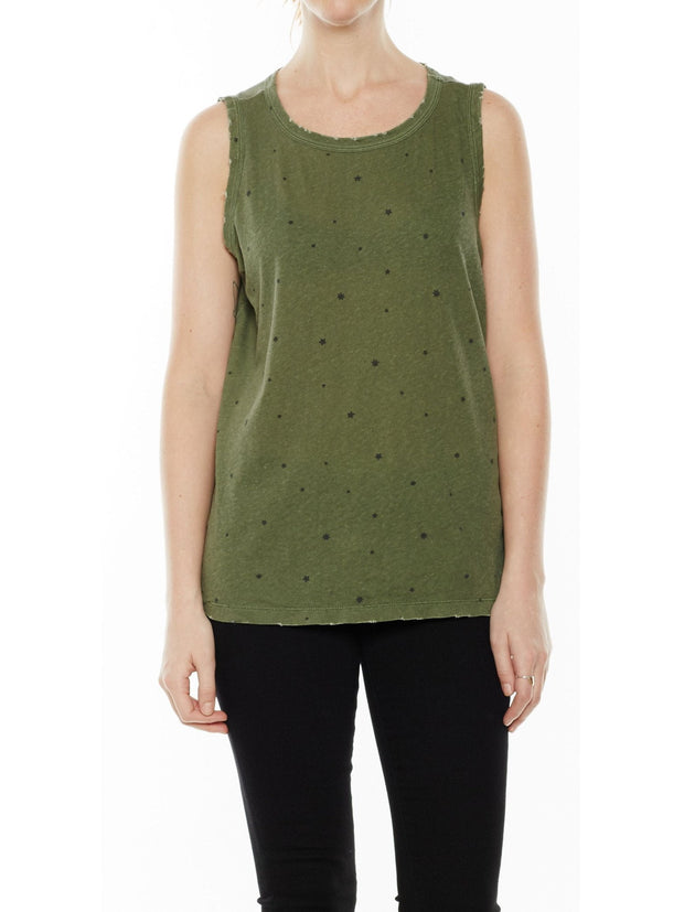 Current/Elliott The Muscle Tee Army Green Falling at Blond Genius - 2