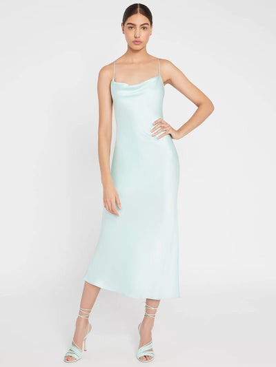 Alice + Olivia - Harmony Drape Slip Midi Dress w Slit in Mint
