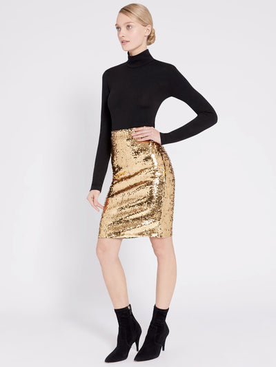 Alice + Olivia - Ramos Embellished Fitted Skirt in Gold Sequins
