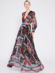 Alice + Olivia - Cheney Slit Sleeve Pleated Dress in Royalty Paisley