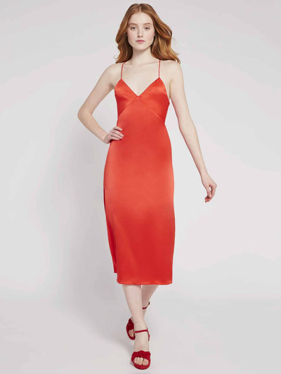 Alice & Olivia - Loraine Seamed Slip Midi Dress in Bright Poppy