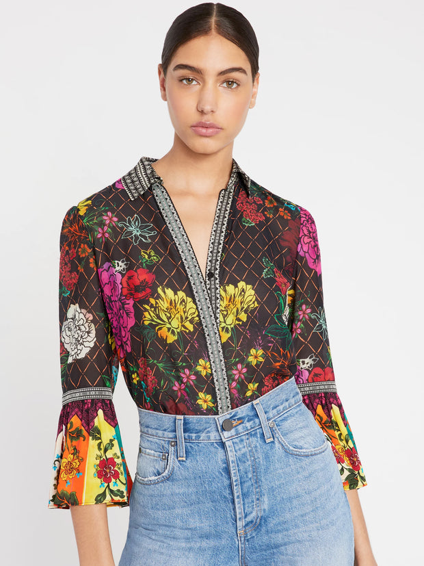 Alice + Olivia - Rivera Trumpet Sleeve Button Down in Retro Floral Multi/Combo