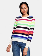 White + Warren - Bold Stripe Sweatshirt in Neon Combo