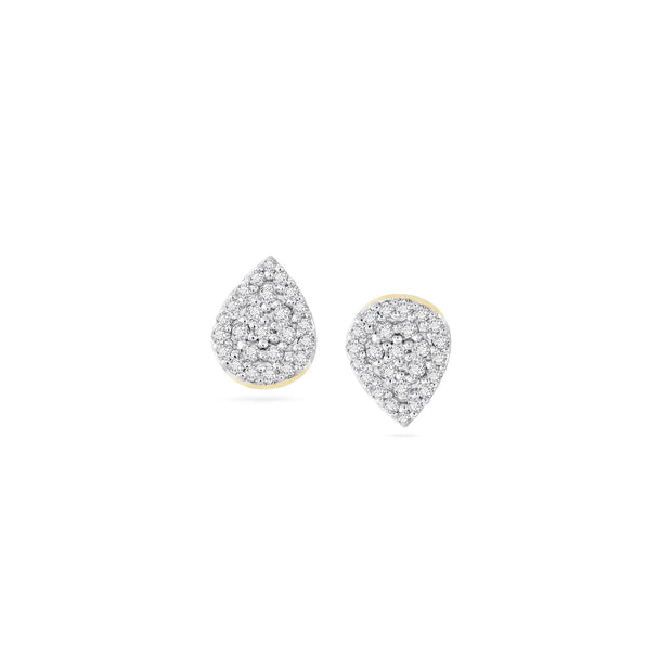 Adina - Solid Pave Teardrop Posts in Yellow Gold