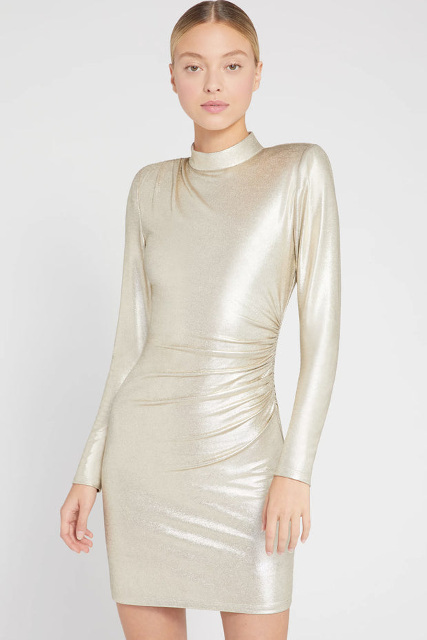 Alice + Olivia - Hilary Ruched Mock Neck Dress in Pale Gold