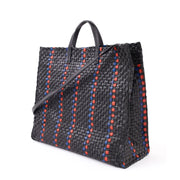 Clare V. - Simple Tote in Black w/ Pacific & Cherry Red Woven Striped Checker