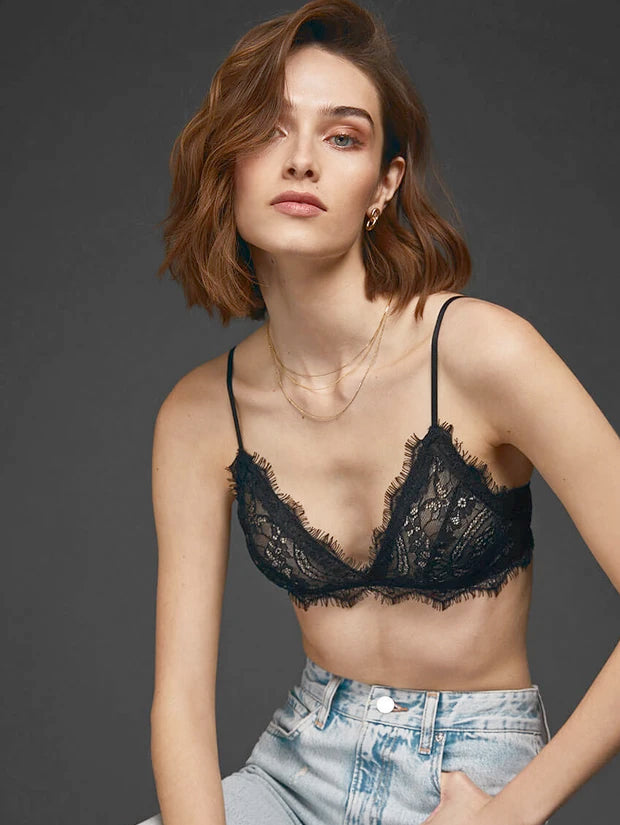 Anine Bing - Lace Bra with Trim in Black