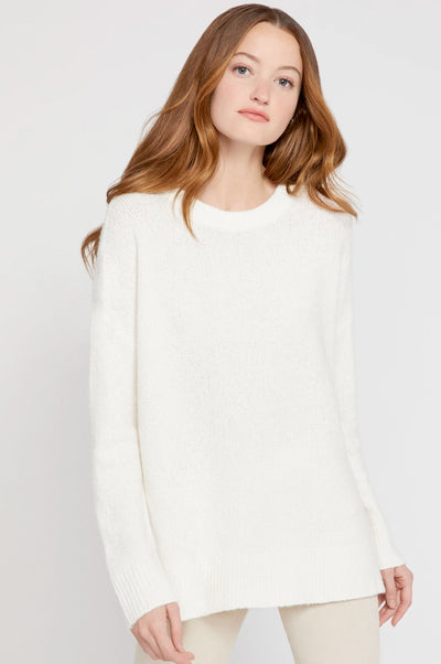 Alice + Olivia - Denise Pullover w Side Slits Soft White
