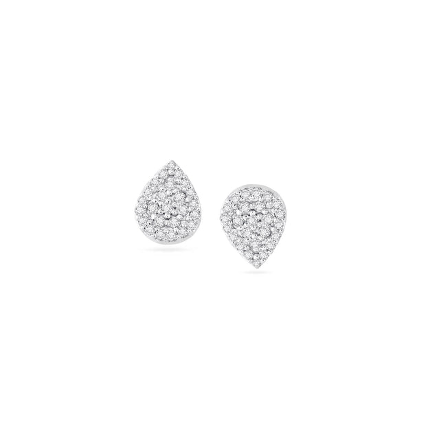 Adina - Solid Pave Teardrop Posts Silver