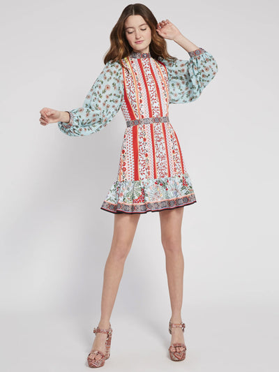 Alice & Olivia - Raya Mandarin Collar Dress in Paloma