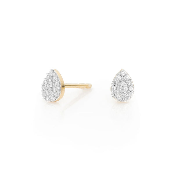 Adina - Super Tiny Solid Pave Teardrop Post 14k Yellow Gold