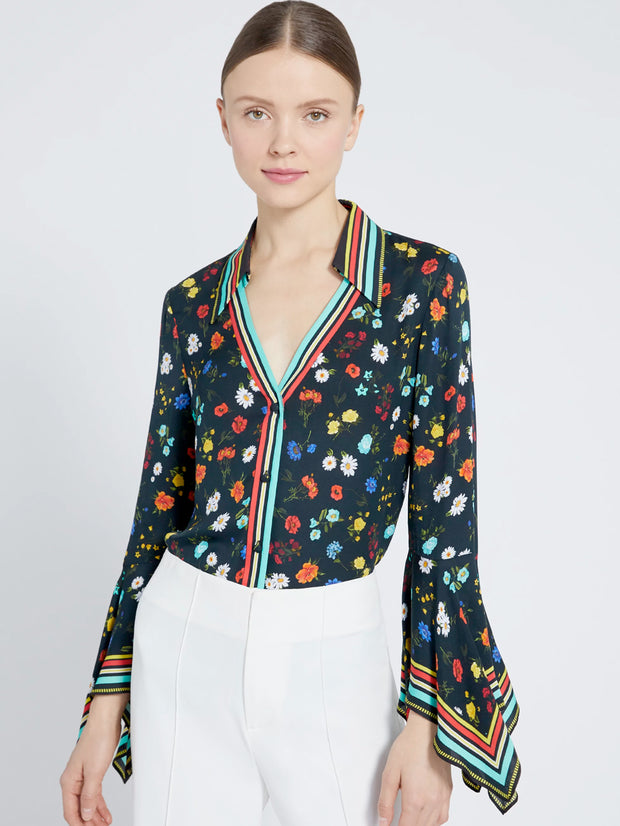 Alice + Olivia - Randa Trumpet Sleeve Button Down Shirt in Botanical Ditsy