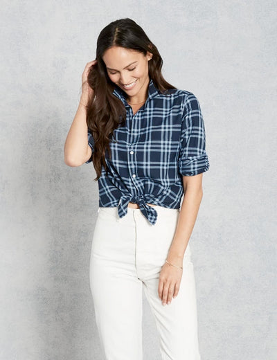 Frank & Eileen - Women L/S Button Down Shirt in Navy & Sky Blue Grid