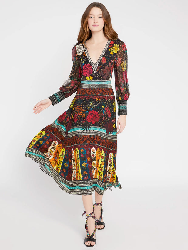 Alice + Olivia - Janey V Neck Flare Dress in Mona Multi/Combo