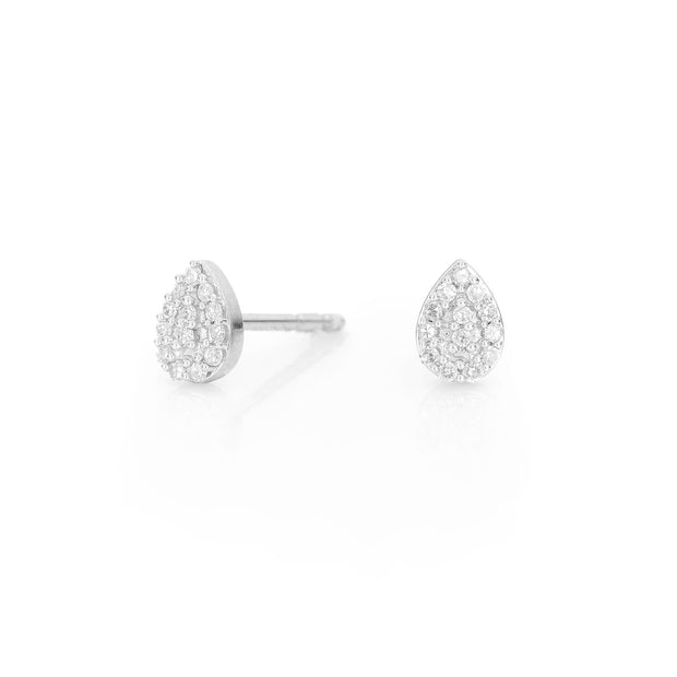 Adina - Super Tiny Solid Pave Teardrop Post Silver
